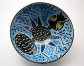 Cereal Bowl - Ceramic Bowl - Pottery Bowl - Small Serving Bowl - Black Ant Pottery Clay on Blue Majolica