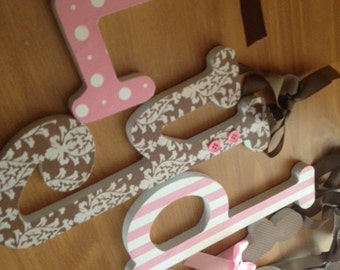 Pink and Brown, Baby Girl, Wooden Letters for Nursery, PINK and CHOCOLATE, Personalized Decor, avail in any size or font in this shop