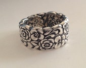 Spoon Ring Silver Bouquet/Floral Bouquet 1960 Size 4.5 to 11 Choose Your Size Vintage Silveplate