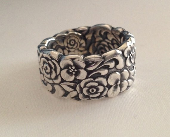 Spoon Ring Silver Bouquet 1960 Size 4.5 to 11 Choose Your Size Vintage Silveplate