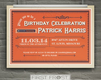 Vintage Cigar Box Style Printable Invitation -  Birthday, Rehearsal Dinner, Engagement Party