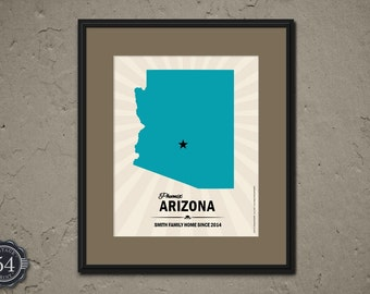 personalized arizona map print map of arizona custom wedding housewarming gift arizona home decor wall decor - Home Decor Tucson