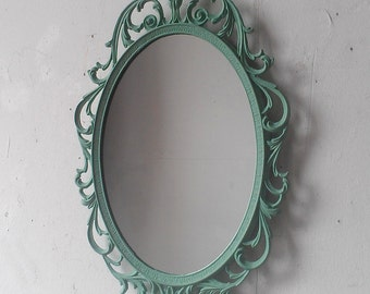 Vintage Oval Mirror in 12 by 8 Inch Decorative Mint Green Frame, Home Accents, Hall or Entry Way Mirror