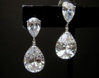 bridal jewelry bridesmaid gift  wedding Clear white teardrop cubic zirconia on teardrop cz post earrings - Free US shipping