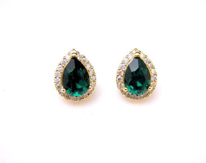 bridal wedding earrings bridesmaid  teardrop shape cubic zirconia luxury post gold earrings with swarovski emerald green rhinestone crystal