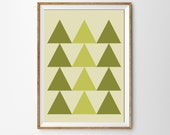 Tribal, Triangles print , pastels , green , wall art , Geometric , Minimal Forest , Woodland - MILKANDPAPER