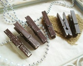 Chocolate & Cream (Brown/Ivory) Distressed Mini Clothes Pins - Rustic 6 Pack