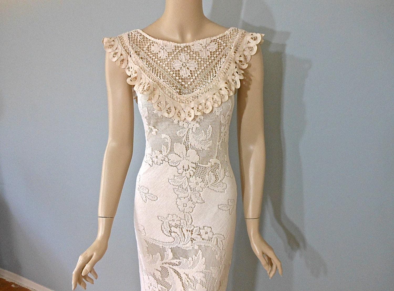 SALE 50% f Victorian Boho Wedding Dress Blush Lace Wedding