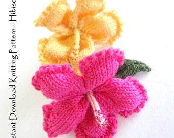 Instant Download PDF Knit Flower Pattern - Hibiscus Flower