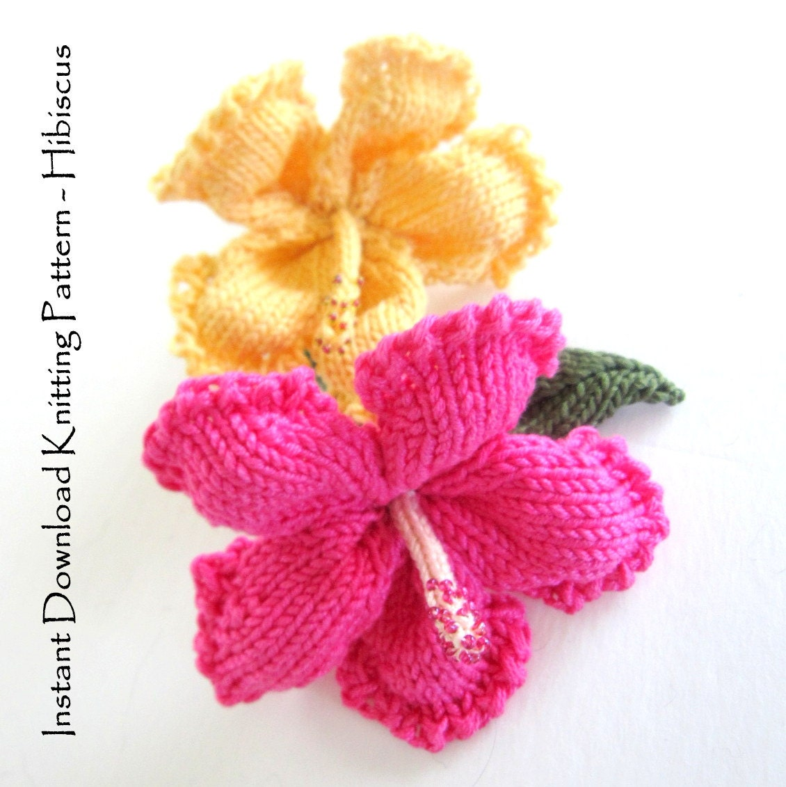 Free Crochet Pattern For Hibiscus Flower : Instant Download PDF Knit Flower Pattern Hibiscus Flower