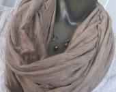 Lightweight Infinity Nursing Scarf/ nursing cover/ infinity scarf -mocha mira slub