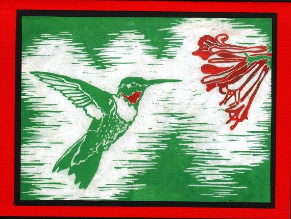 5 Hummingbird Notecards on Red or Green
