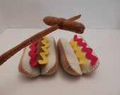 Hot dogs with mustard felt food plush toy- set of two with roasting sticks