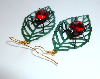Red Ladybug Earrings on a Leaf Unique Bug Jewelry for Her Insect Earrings Dangle Earrings Love Bug Earrings Nature Inspired Girlfriend Gift