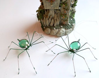 Two Green Wide Eyed Spiders Pet Spiders for the Bug Lover Spider Phobia Delight Cute 3 Inch Wire Art Bugs Ornaments for the Home Decor