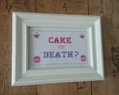 Cake or Death Eddie Izzard cross stitch pattern PDF sampler needlepoint
