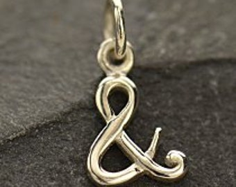 Sterling Silver Ampersand Charm - Letters, Cursive Initials, C1390