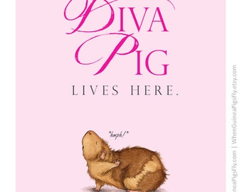 A Diva Pig Lives Here - cute guinea pig fine art print and poster