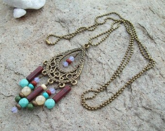 Chandelier Pendant Necklace with Petite Ball Chain - Gypsy Boho Long Necklace - Bohemian Hippie