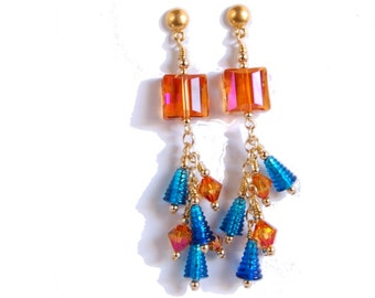 Long crystal and gold chain earrings with Capri Blue and Astral Amber and Pink Swarovski Crystals and Lampwork glass beads