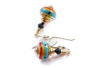 Atomic Age retro style earrings Aqua, turquoise, yellow, red and black glass bead earrings, lampwork bead earrings, black Swarovski crystals