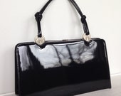 HOLD FOR MARIA Gorgeous Black Patent Leather Vintage Bag With Silver Art Deco Detailing