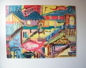 Vintage Mid Century Painting San Francisco Landmarks Chinatown Wharf Sam's