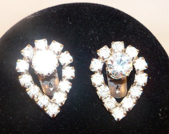 Vintage Signed Shoe Clips with Clear Rhinestones