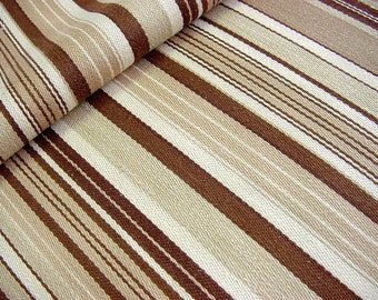"Vintage Brown & Beige Stripe Cotton Decorator Fabric - Drapery Upholstery 51"" x 32"" last piece"