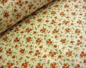 Tea Dyed Calico Little Floral Print Fabric -Pumpkin Orange Flowers on Ecru Beige Cotton Quilt Material OOP by the yard