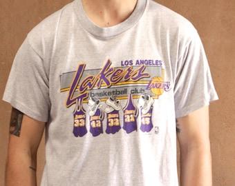 MAGIC JOHNSON Lakers cotton basketball 80s NBA t-shirt