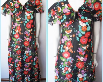 Vtg.60/70s Black Floral Cotton Ruffle Cape Maxi Dress by Penny Ann.Size.M.Bust 38.Waist 32.