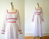 Hippie Dress Flower Print Boho White Ladybugs Size XS Small