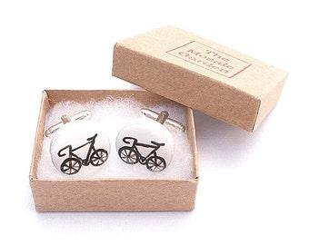 Bicycle Cufflinks Black, Bike Cufflinks, Men's Gifts, Gift for Dad, Wedding Cufflinks, Groom Cufflinks, Gift for Grandad, Cycling Gift