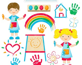 Finger Painting Cute Digital Clipart - Commercial Use OK - Pre-School Kids Clipart, Pre-School Graphics, Kindergarten Clipart, Painting Kids