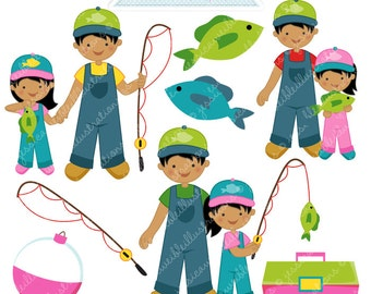 Fishin Buddy Girl V2 Cute Digital Clipart - Commercial Use OK - Fishing Clipart, Fishing Graphics, Girl Fishing