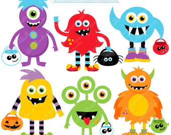 Trick or Treat Monsters Cute Digital Clipart - Commercial Use OK - Halloween Monsters - Halloween Graphics