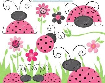 PINK Lovely Ladybugs Cute Digital Clipart - Commercial Use OK - Digital Ladybug Graphics - Pink Ladybug Clipart