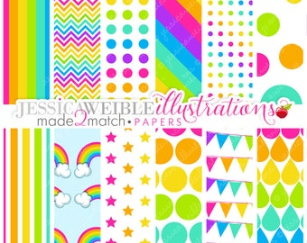 Neon Rainbow Cute Digital Papers - Commercial Use OK - Rainbow Backgrounds, Rainbow Papers - INSTANT DOWNLOAD
