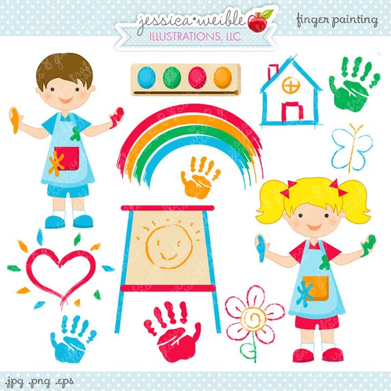 finger painting cute digital clipart commercial use ok