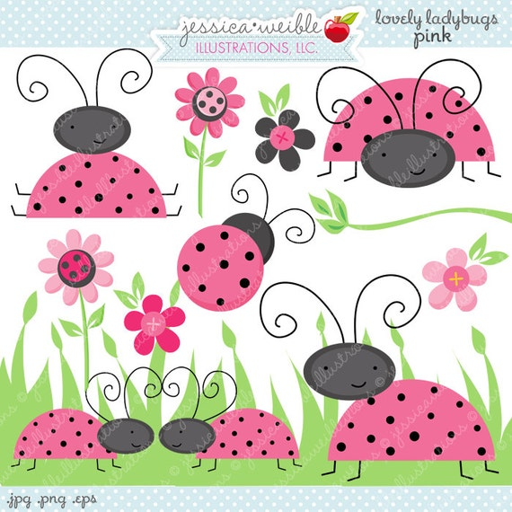PINK Lovely Ladybugs Cute Digital Clipart Commercial Use OK