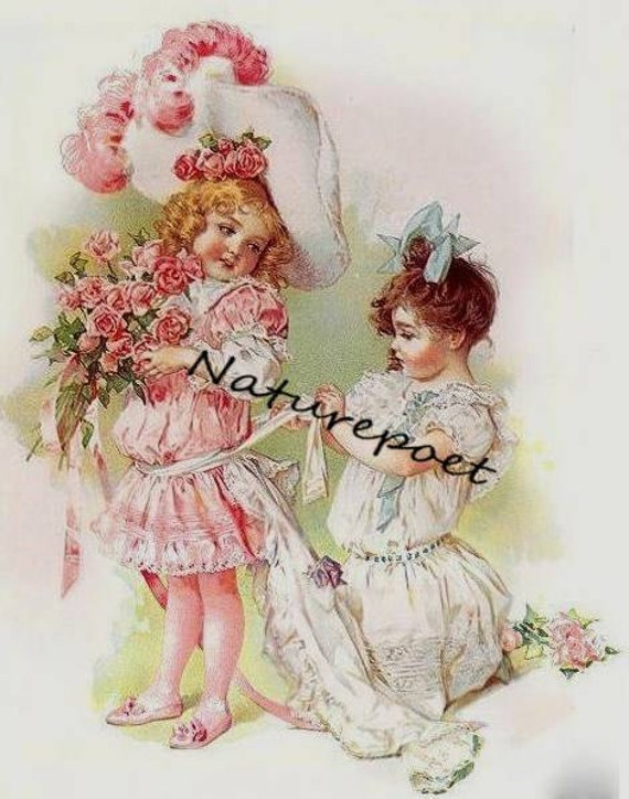Little Girls Playing Dress Up Digital Downloadable, Printable Image Instant Download