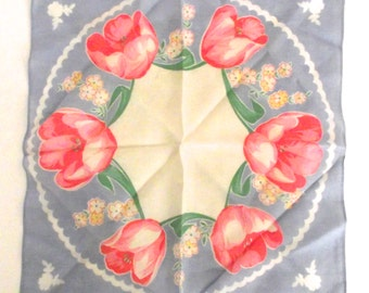 Vintage Ladies Illustrated Handkerchief in Light Blue with Bright Pink Tulips