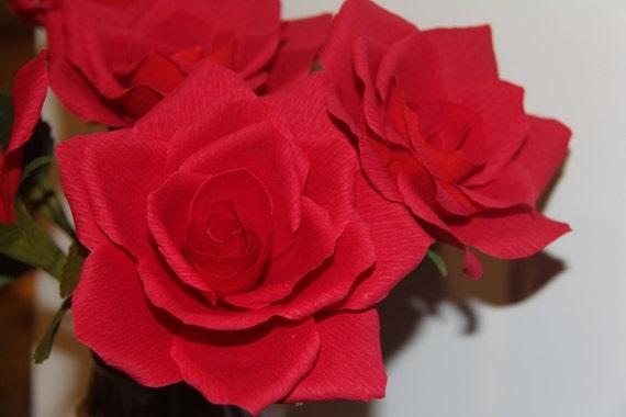 Red Rose  - Crepe Paper Flower - Valentine -  Paper Flower