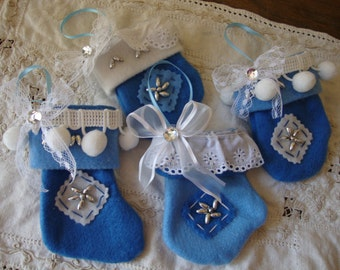 Mini stocking Christmas ornaments blue and white felt fabric stockings and mitten ornaments vintage lace decor cottage chic christmas decor