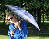 Vintage Blue Art Deco Silk Gatsby Umbrella/Parasol // 1920s