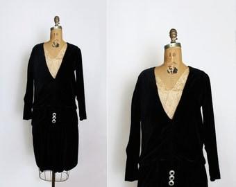 1920s dress - 20s velvet dress - black velvet - flapper dress - gatsby