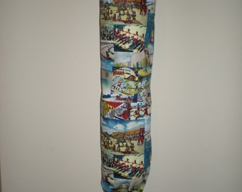 Plastic bag/Storage bag holder multi-coloured Miami print design eco friendly  cotton Great for the pantry