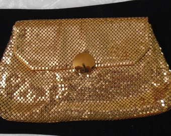 Vintage GOLD Metal-Mesh Evening Purse by WHITING and DAVIS