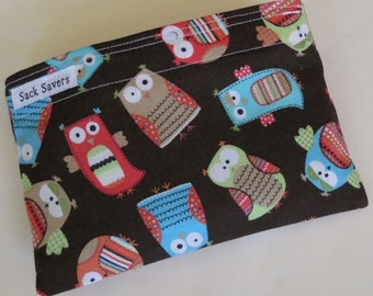 Reusable Eco Friendly Sandwich or Snack Bag Cute Owls